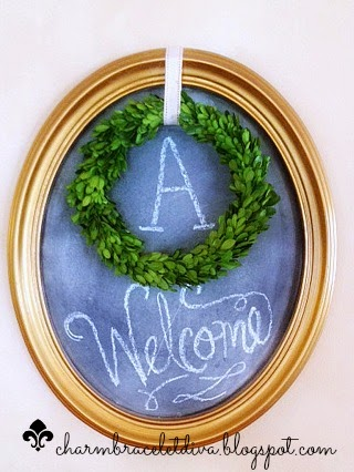 DIY oval gilded chalkboard frame Welcome sign boxwood wreath