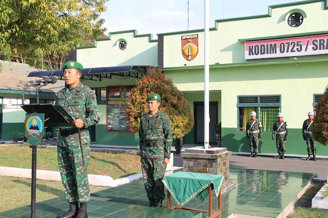 Kodim Sragen - Upacara Bendera Senin Tingkatkan Nasionalisme Prajurit Dan PNS Kodim Sragen