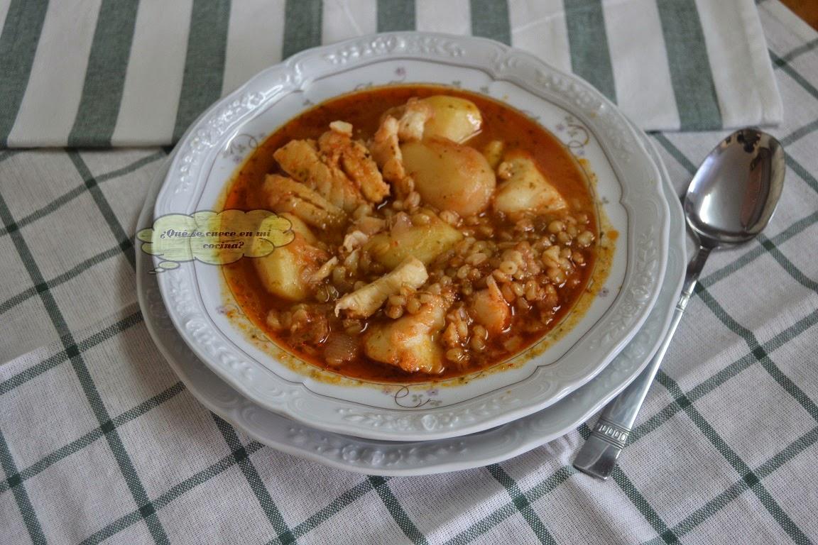 Olleta de trigo con bacalao for Cocinar trigo