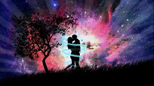 Romantic Love Couple Kissing Background Wallpaper