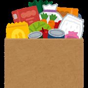 食べ物が入ったダンボール箱のイラスト