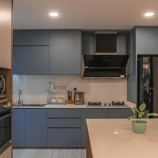 Blue and white kitchen and island counter