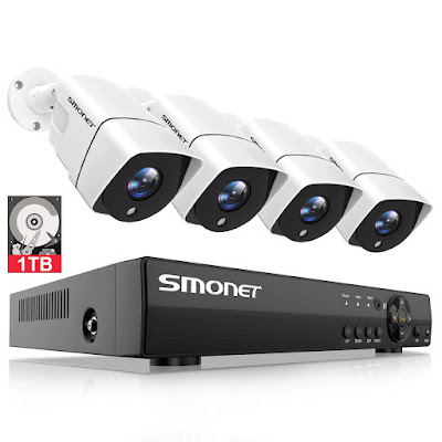 [Full HD] Security Camera System 1080P,SMONET 4 Channel Home Security Camera System(1TB Hard Drive),4pcs 2MP Outdoor Cameras,Super Night Vision,P2P,Easy Remote View,Free APP,NO Monthly Fee