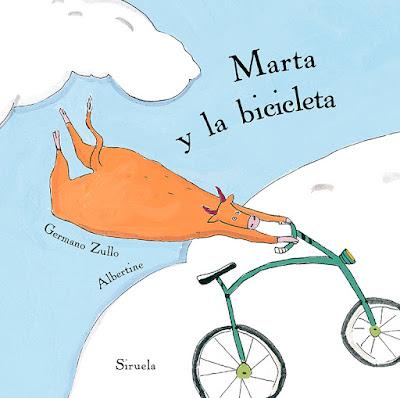 Portada del álbum ilustrado de Albertine Marta y la bicicleta