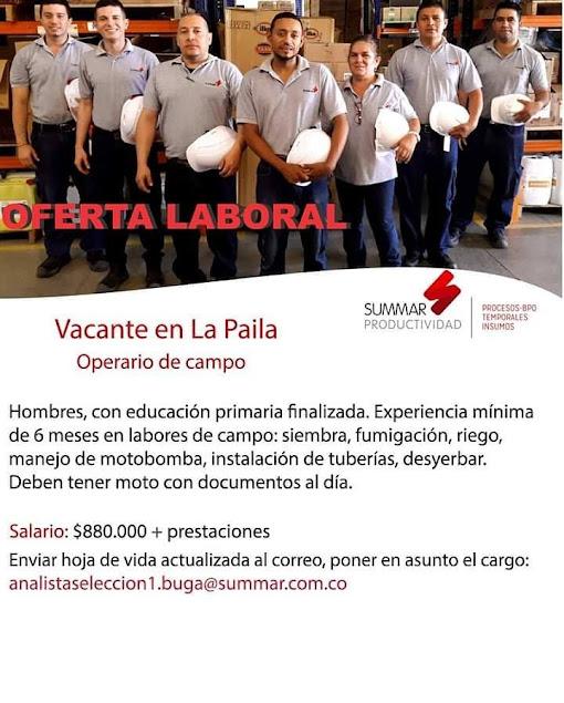 Empleo en La Paila como OPERARIO DE CAMPO