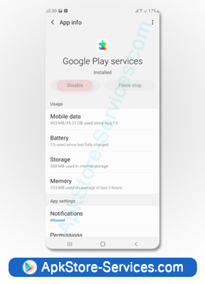 تمكين خدمات جوجل بلاي Google Play Services