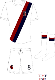La maglia con banda trasversale rosso-blu, quella di tanti successi e dell'ultimo scudetto del Bologna, il 7° del 1963-64, in una mia rivisitazione grafica.
