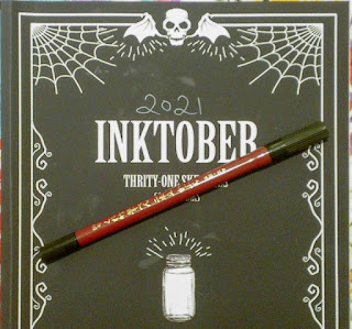 Closep image of the Fude #55 brush pen on top of the Inktober sketchbook
