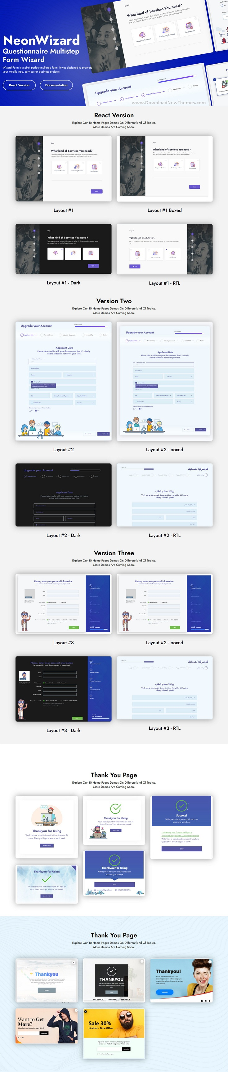 NeonWizard - Questionnaire Multistep Form Wizard React JS Template