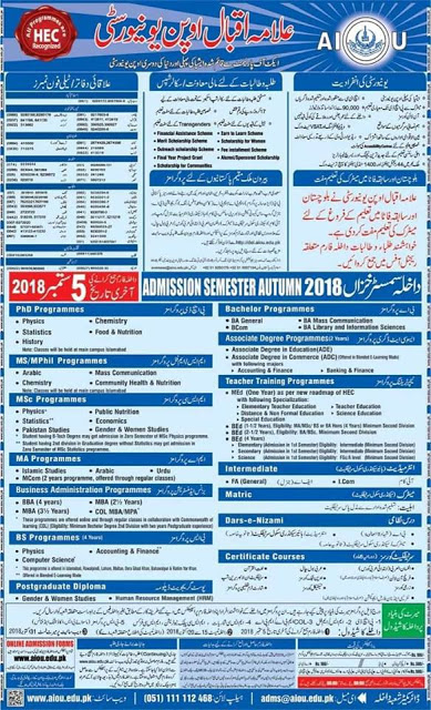 AIOU Admission Programs 2018, Allama Iqbal Open University Autumn Admissions, Application Form Download, Method of Applying,