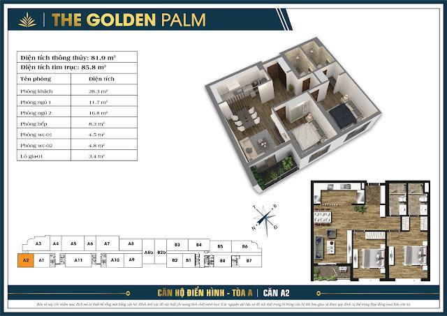 Thiết kế căn A2, 81m, tòa A - The Golden Palm