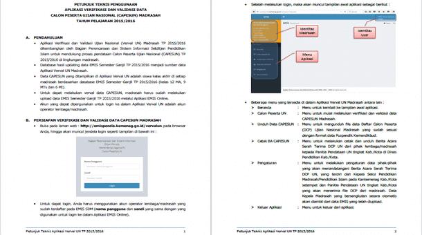 Petunjuk Teknis Penggunaan Aplikasi Verval Data Calon Peserta UN Madrasah 2015-2016