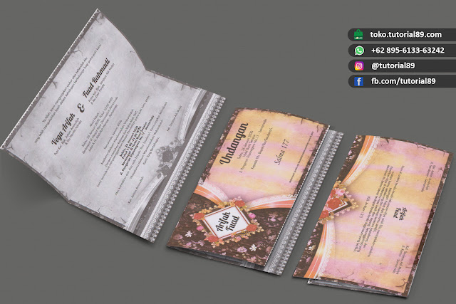 Undangan pernikahan 89.S177 - Seimpel Lipat 2 +stiker label undangan