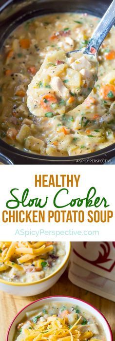 Healthy Slow Cooker Potato Soup with Chicken