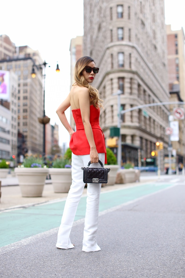 CMEO Collective two sides top, cmeo collective break even pants, christian louboutin so kate heels, chane boy bag, chanel earrings, quay sunglasses, flatiron building nyc, nyc street style, nyc fashion week, fashion bknr, cmeo collective outfits