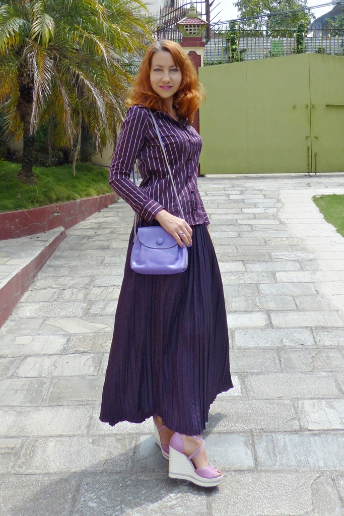 silk pleated maxi skirt worn with shirt and wedges