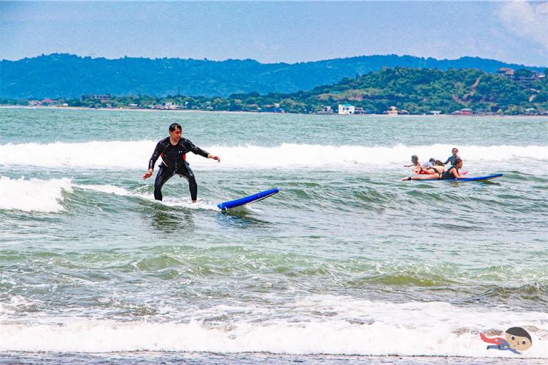 Surfing in Urbiztondo Beach, La Union
