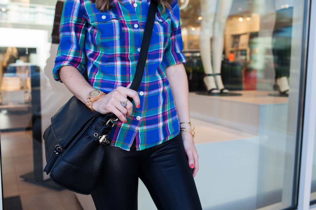 Totally easy and cute weekend outfit with plaid top + leather leggings + sneakers. Perfect for fall!