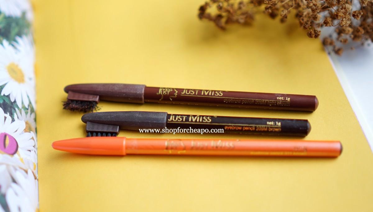 review pensil alis Just Miss Brow Pencil 209M & 311 Brown