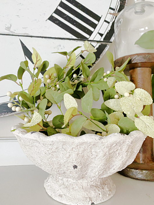 bowl with wreath on mantel