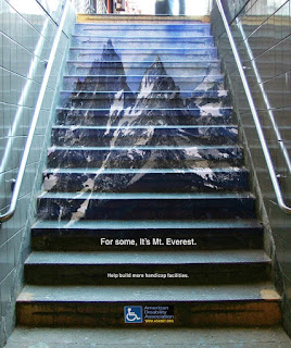 Flight of stairs with Mt Everest superimposed