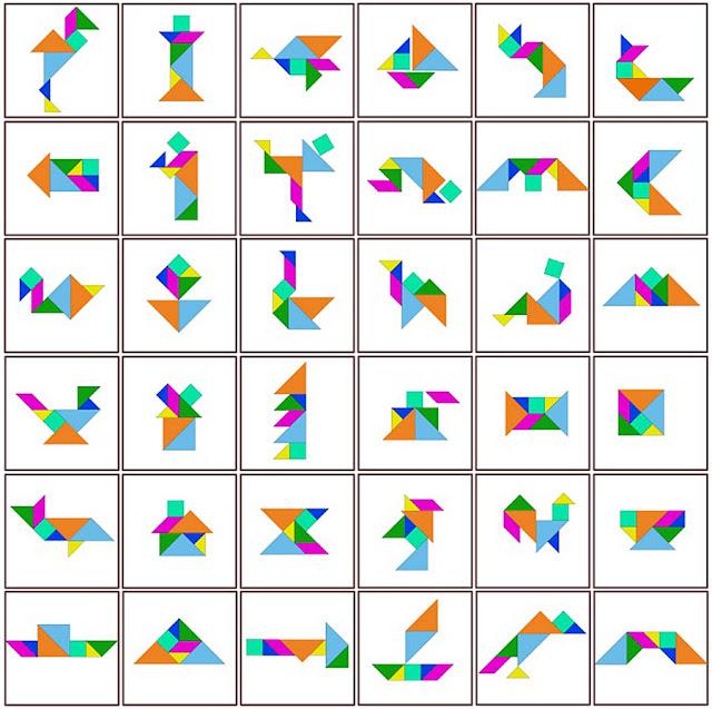 Algumas das figuras feitas com o tangram