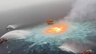 Gas pipeline leak in Gulf of Mexico,flames resembled molten lava