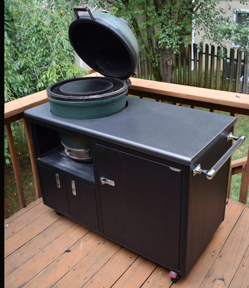 Large Big Green Egg in a Challenger Designs Torch cart set up for making gyros