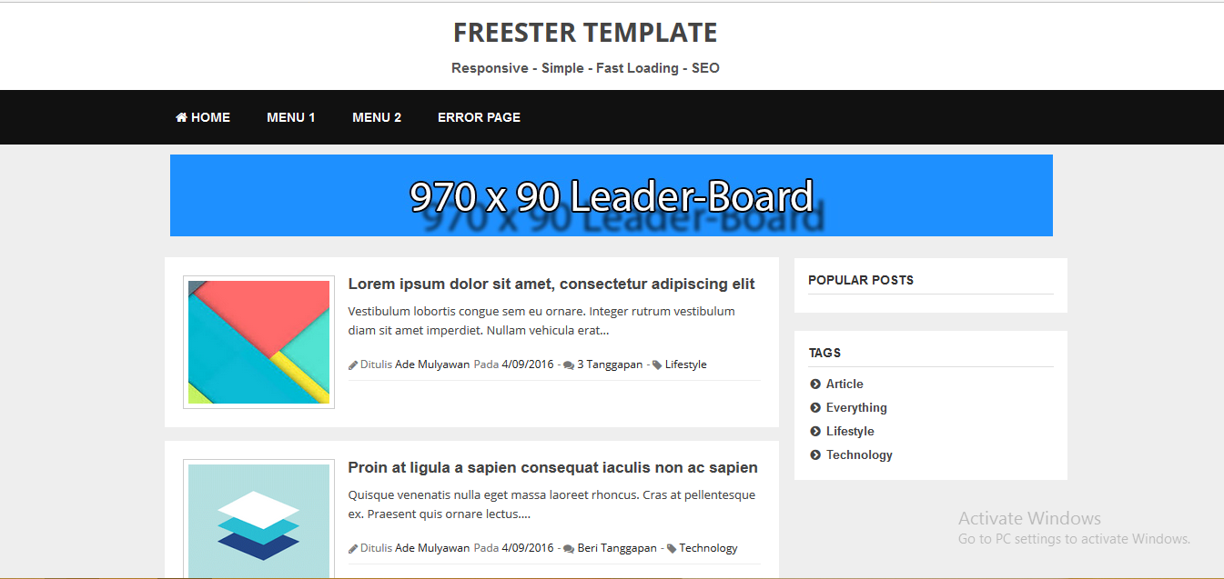 Freester Responsive Fast Loading Blogger Template