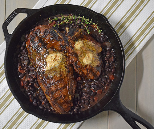 Cajun Seasoned T-Bone Steaks with Black Beans