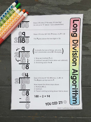 long division cheat sheet and anchor chart