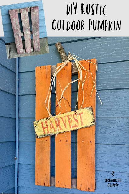 Photo of a rustic pallet section pumpkin