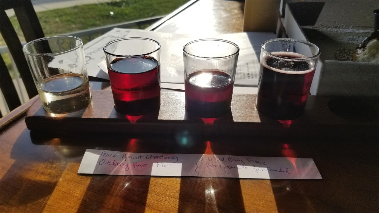 Wine flight at Kuhnhenn Brewing, Warren