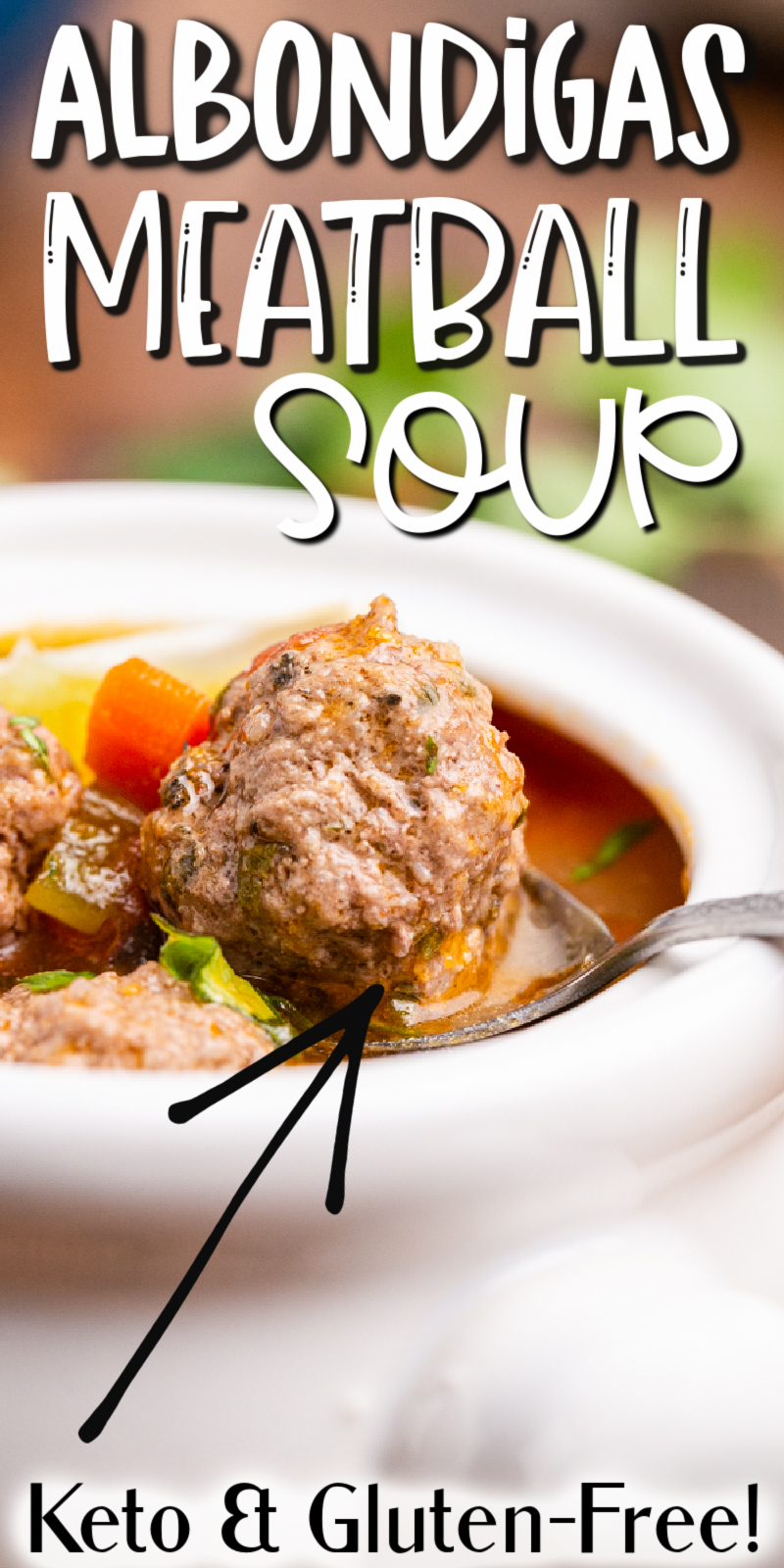 Keto Albondigas (Meatball) Soup - This Keto Albondigas (Meatball) Soup recipe is a low carb version of a Mexican classic. This soup is full of vegetables, tender meatballs, and a rich tomato broth. #keto #lowcarb #glutenfree #mexican #soup #beef #groundbeef #recipe
