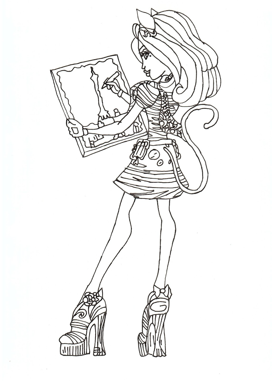 Free printable monster high coloring pages catrine de mew for Free monster high coloring pages