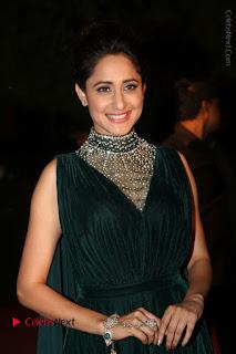 Pragya Jaiswal Stills in Green Long Dress at Gemini TV Puraskaralu 2016 Event
