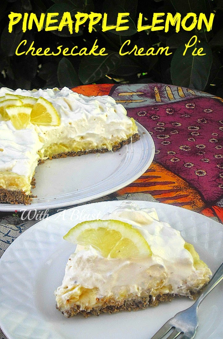 Pineapple Lemon Cheesecake Cream Pie ~ Best of both - Cheesecake and Cream Pie in one, with a chocolatey crust AND it is a NO-Bake #Cheesecake #NoBake #CreamPie