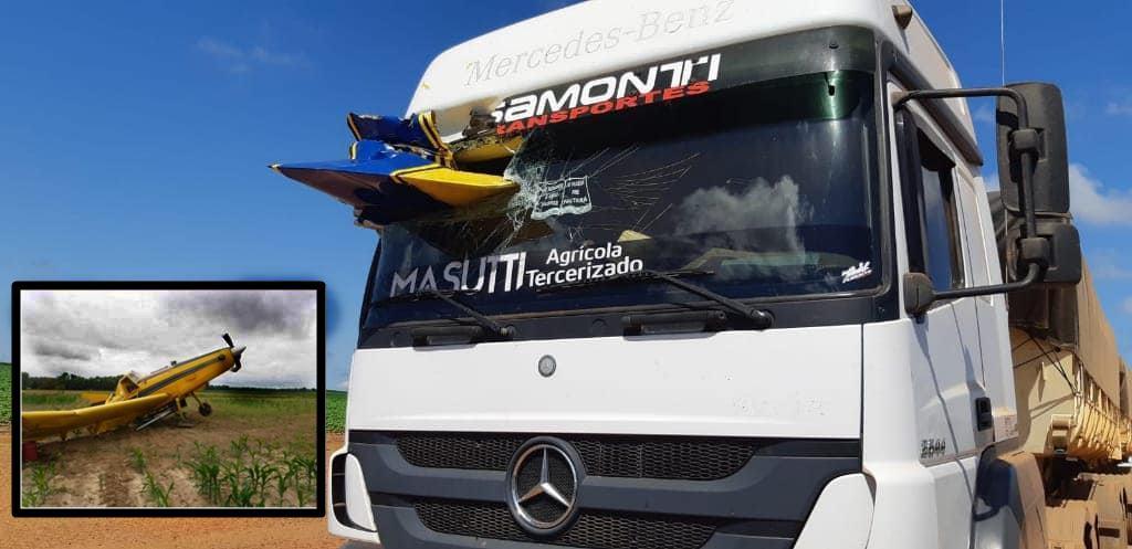 Acidente entre caminhão e avião é registrado em Comodoro/MT