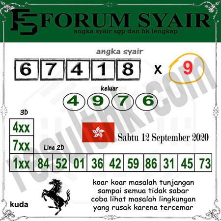 Forum Syair HK Sabtu 12 September 2020