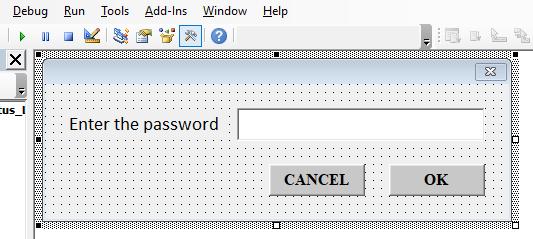 Designed custom userform