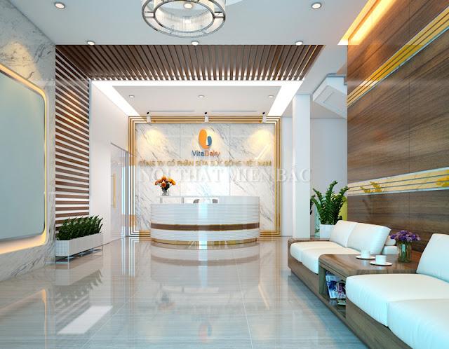 `Khu vực lễ tân ấn tượng trong thiết kế văn phòng cao cấp công ty Sữa Sức Sống