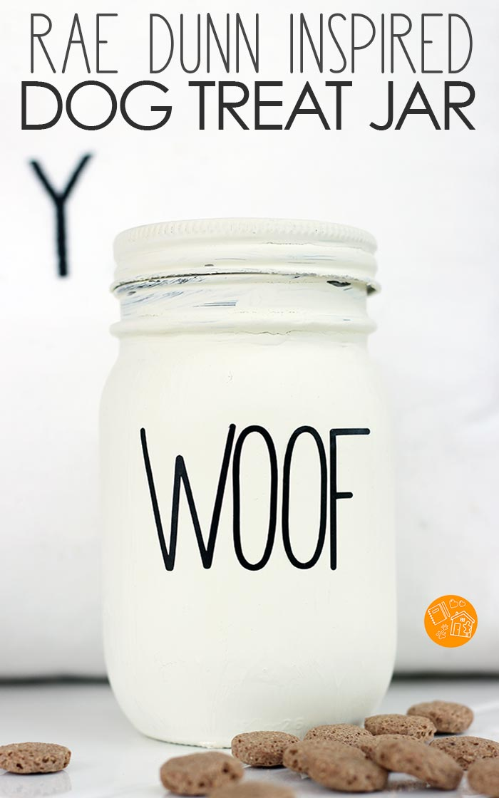 DIY Rae Dunn inspired dog treat canister! This is a super simple DIY dog treat jar inspired by Rae Dunn. It's super easy to make with a Cricut and a mason jar. And you can find out what healthy treats your pet will want to find inside! #sponsored #raedunn #dogtreats #dogs #DIY