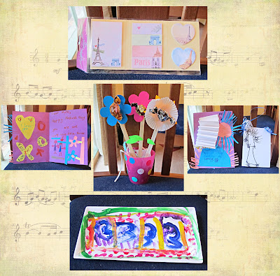 image mother's day present collage handmade platter cards and paper flowers