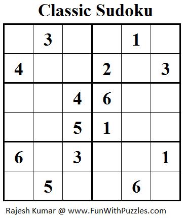 Classic Sudoku (Mini Sudoku Series #26)