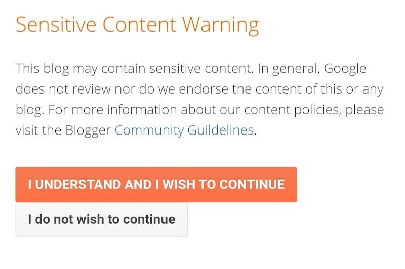 Cara Mengatasi Sensitive Content Warning Pada Blogger.