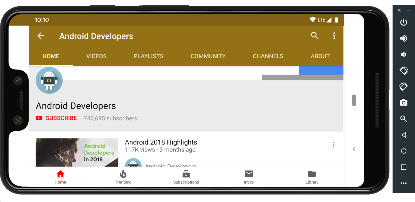 Android Developers YouTube channel UI on landscape mode.