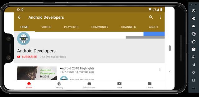 UI del canale YouTube per sviluppatori Android in modalità orizzontale.