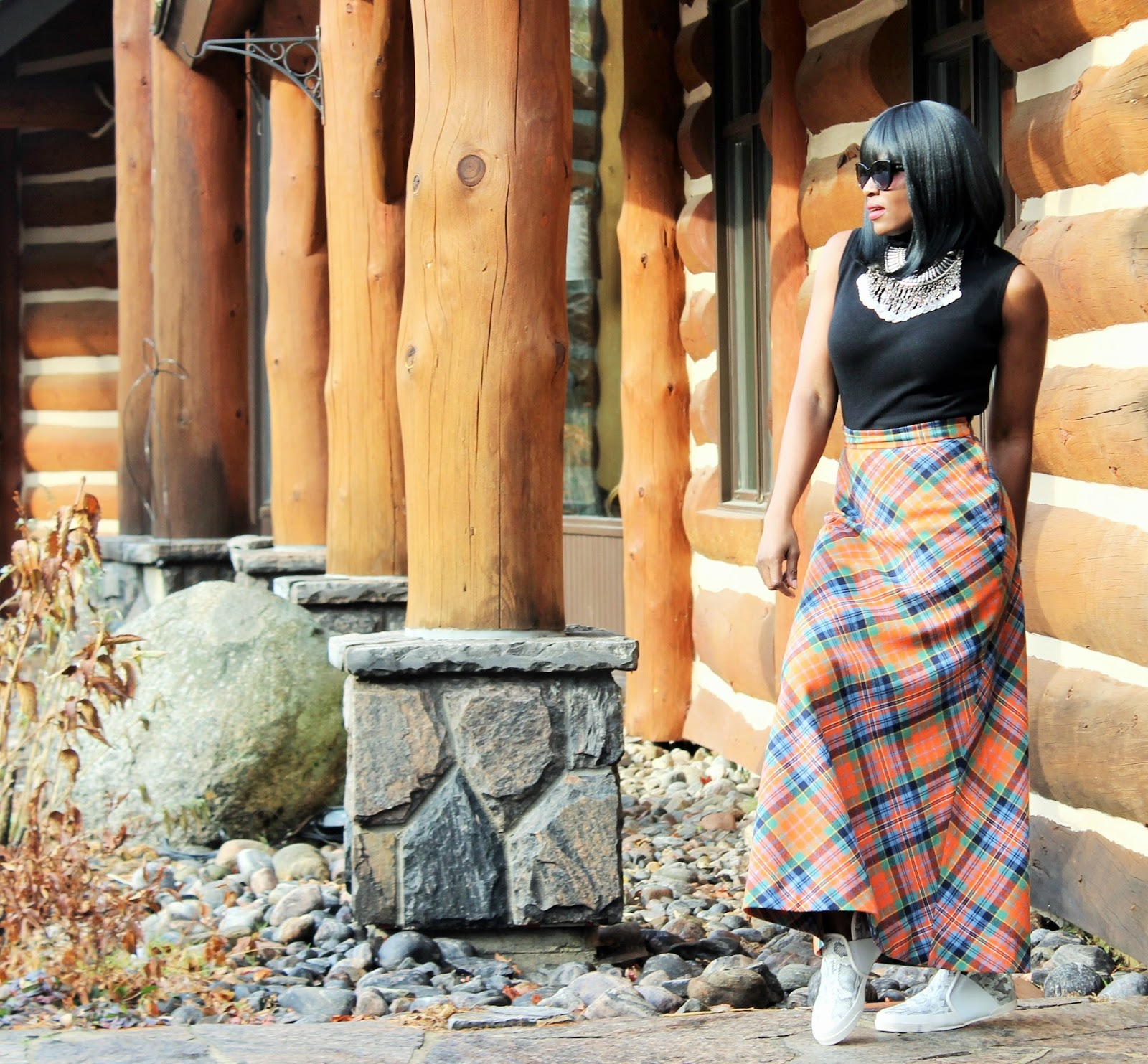 Butterfly Twists Trainers + Vintage Tartan Maxi Skirts