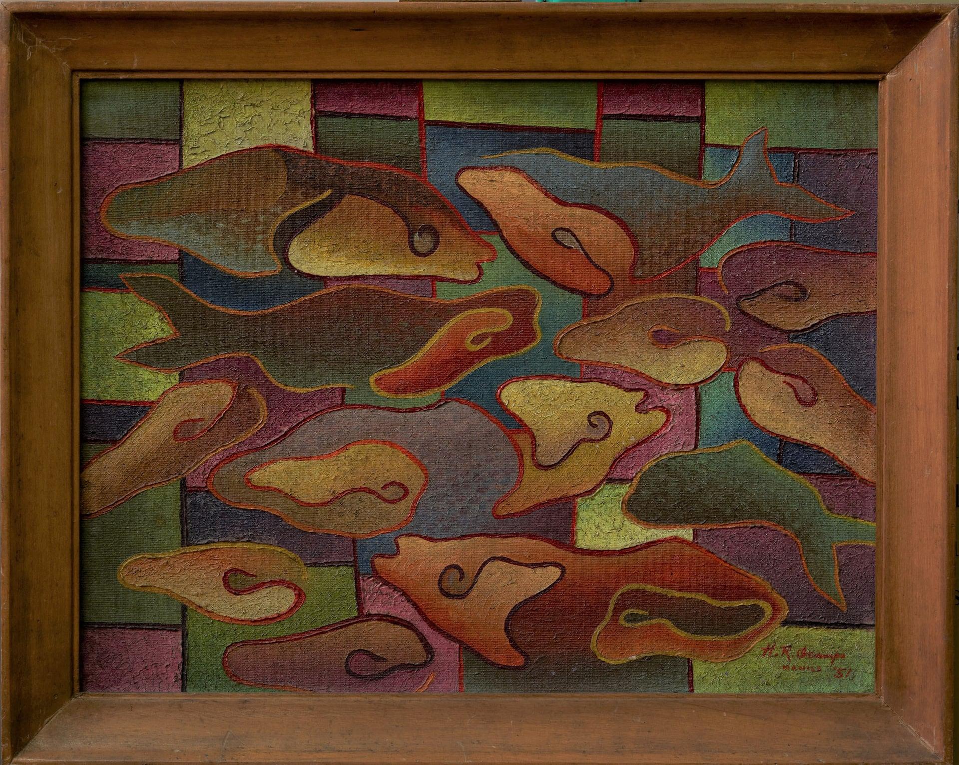"oil painting entitled ""Piniritong Isda"" (Fried Fish)  Hernando Ruiz Ocampo"