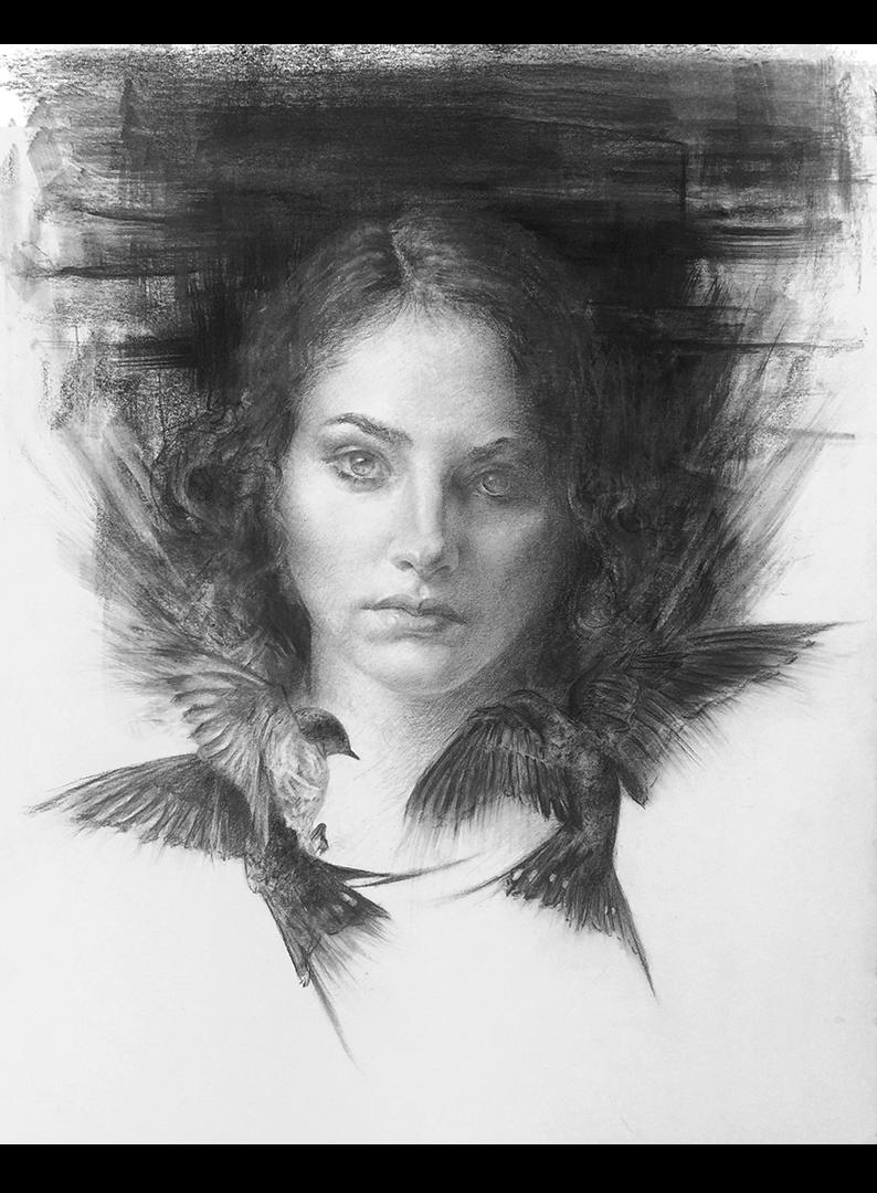 Iva K, Charcoal portrait